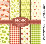 seamless picnic patterns with... | Shutterstock .eps vector #1084816004