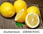 heap of fresh lemons with mint... | Shutterstock . vector #1084819241