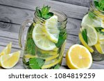 detox water with lemon and mint ... | Shutterstock . vector #1084819259