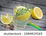lemon and rosemary detox water... | Shutterstock . vector #1084819265