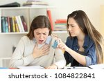 student helping to her asmathic ... | Shutterstock . vector #1084822841