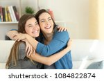 two happy friends or sisters... | Shutterstock . vector #1084822874