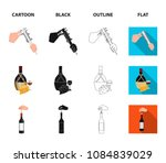 bottle  a glass of wine and... | Shutterstock .eps vector #1084839029
