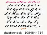 calligraphic hand drawn font.... | Shutterstock .eps vector #1084844714