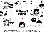 set of doodle female and male... | Shutterstock .eps vector #1084854617
