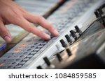 sound engineer hands working on ... | Shutterstock . vector #1084859585