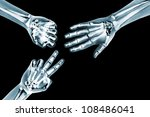 X Rayed Hands Playing Rock...