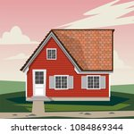 beautiful red house with white... | Shutterstock .eps vector #1084869344