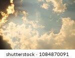 blue sky with yellow golden... | Shutterstock . vector #1084870091