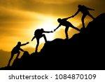 group of people on peak... | Shutterstock . vector #1084870109