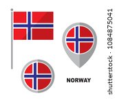 norway flag and map pointer... | Shutterstock .eps vector #1084875041