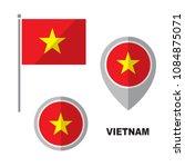 vietnam flag and map pointer... | Shutterstock .eps vector #1084875071