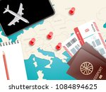 travel accessories vector... | Shutterstock .eps vector #1084894625