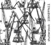 seamless pattern port crane... | Shutterstock .eps vector #1084899611