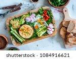 healthy vegetarian balanced... | Shutterstock . vector #1084916621