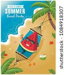 vintage summer poster with... | Shutterstock .eps vector #1084918307