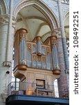 Antique Huge Church Organ Wide...