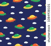 flying ufo pattern for kids and ... | Shutterstock .eps vector #1084938101
