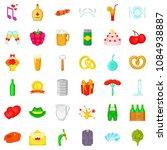 wine icons set. cartoon style... | Shutterstock . vector #1084938887