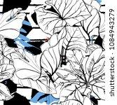 tropical  modern stripes motif. ... | Shutterstock .eps vector #1084943279