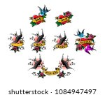 tattoo swallows with the... | Shutterstock .eps vector #1084947497