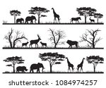 Stock vector animals silhouette at the savannah 1084974257