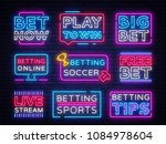 collection betting neon signs.... | Shutterstock .eps vector #1084978604