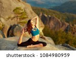yoga woman. gorgeous young... | Shutterstock . vector #1084980959