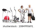 mature woman and a mature man... | Shutterstock . vector #1084990691