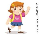 a cute girl going to school... | Shutterstock .eps vector #1084995695