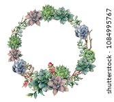 watercolor succulent and... | Shutterstock . vector #1084995767
