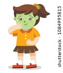 a girl vomiting. she has been... | Shutterstock .eps vector #1084995815