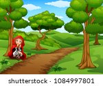 red hooded girl are in the... | Shutterstock .eps vector #1084997801