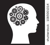 human brain machine with wheel... | Shutterstock .eps vector #1085001014