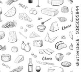 seamless pattern of cheese and... | Shutterstock .eps vector #1085005844