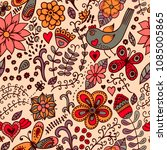 vector floral seamless pattern. ... | Shutterstock .eps vector #1085005865