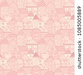 cute cartoon pattern with tiny... | Shutterstock .eps vector #1085005889