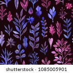 watercolor texture with flowers ... | Shutterstock . vector #1085005901