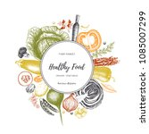 eco food design with hand drawn ... | Shutterstock .eps vector #1085007299