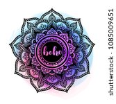 black ink mandala on watercolor ... | Shutterstock .eps vector #1085009651