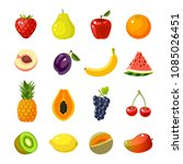 set of colorful cartoon fruit... | Shutterstock . vector #1085026451