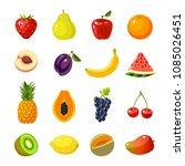 set of colorful cartoon fruit... | Shutterstock . vector #1085026451