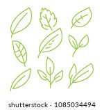 leaves icon hand drawn vector... | Shutterstock .eps vector #1085034494