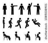 man basic posture. icon person... | Shutterstock .eps vector #1085038901