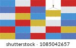 stack of cargo containers in a... | Shutterstock .eps vector #1085042657