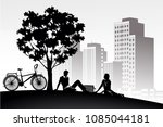 silhouette vintage bike and... | Shutterstock .eps vector #1085044181
