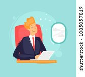 businessman on the plane with... | Shutterstock .eps vector #1085057819