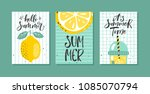 vector set of bright summer... | Shutterstock .eps vector #1085070794