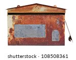 Red old mailbox isolated on white background - stock photo