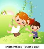 kids playing | Shutterstock .eps vector #10851100